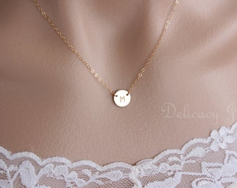 Gold Initial Disc Necklace, Initial Circle Necklace, Personalized Necklace, Initial Necklace, Monogram Necklace, Bridal Party Christmas Gift