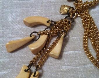 Bone and Gold MORRIS MOSKOWITZ Vintage Necklace