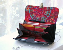 Smartphone wallet clutch - women wallets phone wallet case iphone 6 plus organizer black wallet for women burgundy colorful - MADE TO ORDER