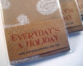 Blank Note Cards - Gift Cards - Brown Kraft Card Stock - Stationery - Block Print Paisley