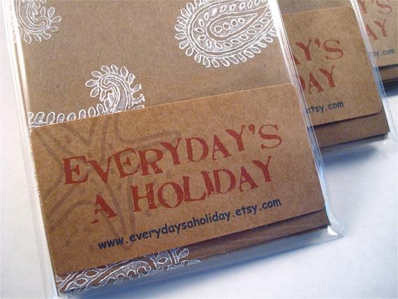 Paisley Block Print Note Cards - Blank Stationery - Kraft Paper