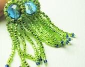 Beadwork Leverback Earrings - Peyote Bezeled and Fringe - Peridot Green Glass Seed Beads and Blue Firepolished Bead - SRAJD