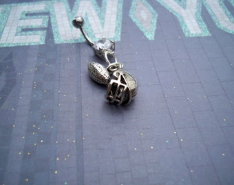 football and helmet pronged belly button ring-body jewelry