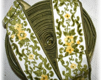 Antique Vintage Wide Chenille Trim Green Gold Olive Yellow  Upholstery