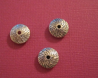 Set of 10 antique silver spacer beads