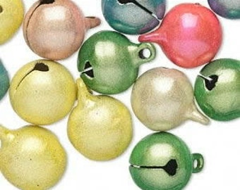 25 Pack of Bells, Catseye, Assorted colors, 12mm with a 2mm top loop