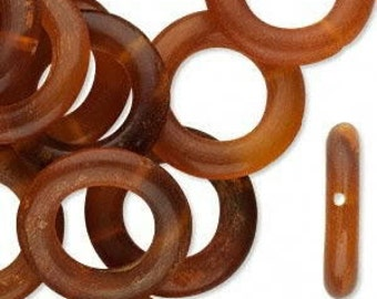 25 Horn Ring Beads, 20mm, Golden Brown