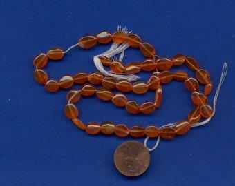 16 Inch Strand of Carnelian Oval Beads, 10mm