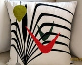Art Deco Vintage Barkcloth Pillow Cover - Black, Red, Dk. Green Apple Green Off White - Many Sizes Available