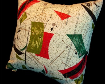 Vintage Retro Barkcloth Pillow Cover -- Diner Delicious 1950s -- Red Black Metallic Gold and Lime on Creamy White - LAST TWO