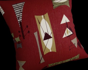 Retro Tiki Pillow Cover - Crimson Mambo Chris Stone Repro Barkcloth