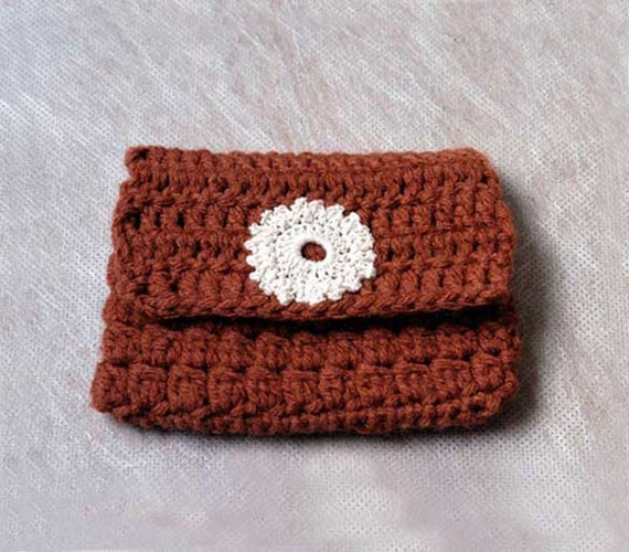 Brown Crochet Rosary Beads Case, Flower Accent, Versatile Pouch, Snap Closure, Handmade