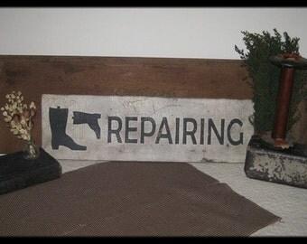 Primitive Vintage Wood Sign - Boot Repair