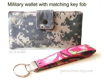 Handmade women wallet - military camouflage and matching key fob - Custom order - Embroidery available - Usmc - USN - ABU - BDU - ACu