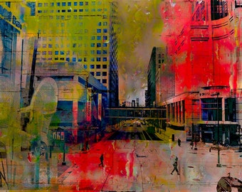 Minneapolis collage, digital photo art, wall art, home decor, Minnesota art, office art, rainy day photo, chair, paper, fine photo, figures