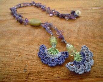 crochet necklace, lavender, lilac