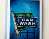 Blank Photo Note Card, Miracle Car Wash, IOWA, fine photograph, Blank Greeting Card, Dubuque, Vintage Sign
