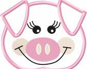 Girly Pig Head Embroidery Machine Applique Design 10668