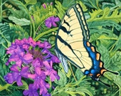 Original Oil Painting 24 x 18 Swallowtail Butterfly on Verbena