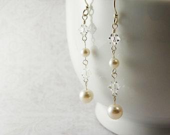 White Pearl Linear  Earrings / Swarovski  Crystal  /  Sterling  Silver  /  Wedding