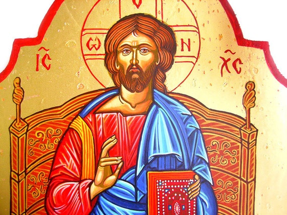 Jesus Christ Pantocrator on Throne - handpainted orthodox icon -  14 by 10 inches