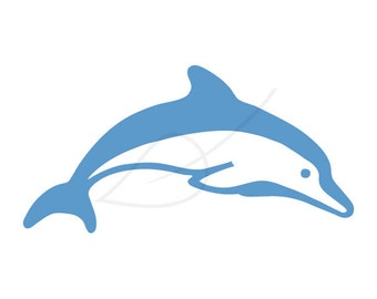 Dolphin digital stamp clip art in blue and black