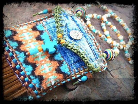 Mini Denim Aztec MEDICINE bag Native American INDIAN medicine bag, CROSS charm turquoise Shaman necklace Fringe necklace
