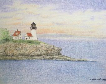 ACEO Art Trading Card Lighthouse Coast Drawing Miniature Picture Ocean Coast