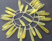 Brand New, Full 10 Inch Long Strand, 25-35mm Long, LEMON YELLOW Chalcedony Elongated Drops Shape Briolettes,Superb-Finest Quality