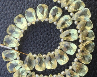Brand New, Full 6 Inch Strand, NATURAL LEMON QUARTZ Faceted Pyramid Shape Briolettes,10x6mm size,Superb Item at Low Price