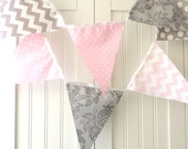 Banner, Bunting,11 Fabric Pennants, Wedding Decor, Light Pink, Grey, Polka Dot, Chevron, Photo Prop, Girl Nursery Decor, Baby Shower Banner