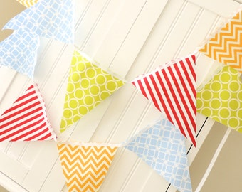 As Seen in Coastal Living!  Fabric Bunting, Garland Pennant Flags in Red, Blue, Yellow and Lime, Birthday Party, Baby Shower, Photo Shoot