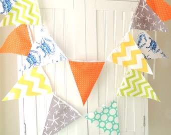 Nautical Banner, Bunting, Fabric Pennant Flags, Baby Shower Banner, Blue, Grey Starfish, Orange, Turquoise, Lime, Yellow, Boy Birthday Party