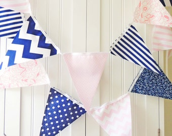 Banner Bunting, Fabric Pennant Garland Flags, Navy Blue, Pale Pink Polka Dot, Chevron, Floral, Baby Nursery Decor, Wedding Garland, Birthday