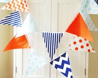 Boy Baby Nursery Banner, Bunting, Fabric Pennant Flags, Baby Shower, Birthday Party, Orange, Light Blue, Navy, Chevron, Polka Dot, Argyle