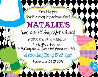 Alice in Wonderland Custom Invitation- With or Without Photo tea party onederland baby shower 1st birthday, tea party birthday