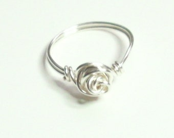 Love Knot Rose Silver Plate Handmade Wire Wrapped Ring Sizes 1-14