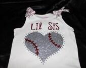 Lil or Big Sis Baseball Heart Bling Tee or Tank, Baseball Sister, Baseball Tank, Lil Sister, Baseball Sister Bling, Big Sister baseball Tank