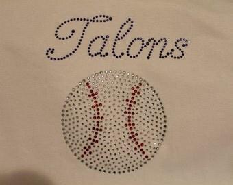 Custom Made Baseball Bling Shirt, Baseball Mom Shirt, Baseball Mom Tank, Baseball Shirt, Spirit Wear Bling, Softball Shirt, Bling,
