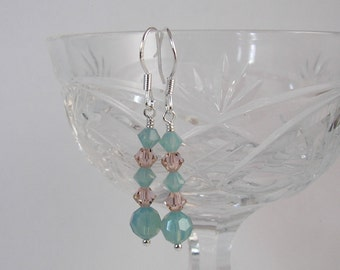 Crystal Dangle Earrings, Swarovski Earrings, Sea Opal, Vintage Rose, Shabby Chic Style, Simple Earrings, Relaxing Lifestyle