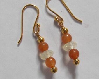 Carnelian Dangle Earrings, Gold Earrings, Citrine Earrings, Chakra Meditation, Balanced Life Style, Ready To Ship, Handmade Earrings