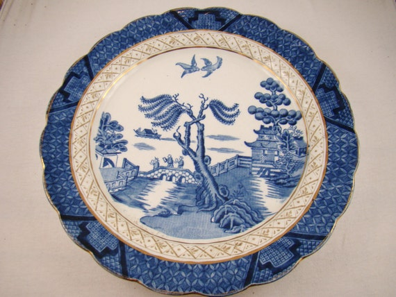 Blue Willow Antique Blue And White China By Lagniappeleftovers
