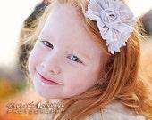 Angelina-  ruffle, rosette & chiffon flower headband