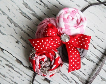 Lovely Little Love- red, pinks and grey rosette headband