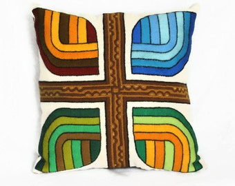 Mod Four Seasons Pillow - Large Upcycled Vintage Embroidery on Linen
