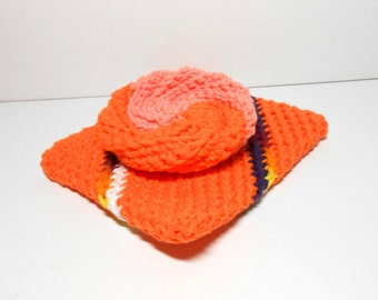 Double Thick Potholder and Scrubbie Set, Orange Potholder and Scrubbie, Orange Potholder, Orange Scrubbie