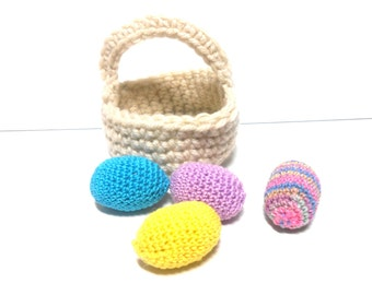 Miniature Easter Egg Basket with Four Eggs, Egg Basket Pincushion, Pincushion, Pin Cushion