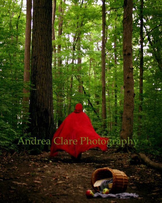 Red Riding Hood, Fine Art Photograph, The Wolf is Coming, Enchanted Forrest, Grimms, Print, Photo, Picture, Cape, Basket, Trees, Gift, Photo