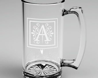 2 Personalized Groomsman Monogram Beer Mugs Custom Engraved Wedding Gift.