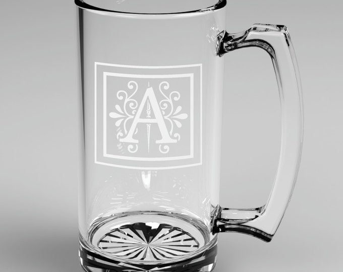 5 Personalized Groomsman Monogram Beer Mugs Custom Engraved Wedding Gift.